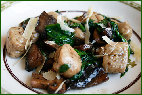 Mushroom Gnocchi with sautéed Spinach would make a great appetizer as ...